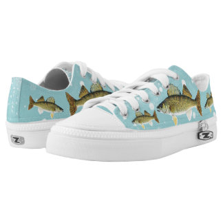 Personalized Walleye Pike on Light Blue Low-Top Sneakers