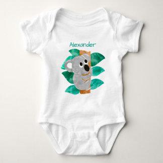 Personalized Watercolor Baby Koala Bear Animal Baby Bodysuit