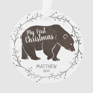 Personalized Watercolor Bear Baby First Christmas Ornament