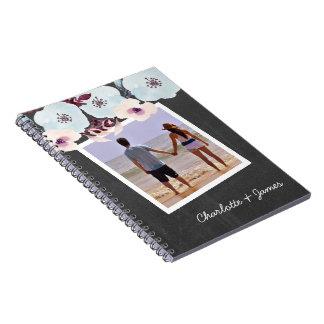 Personalized Watercolor Blue Flower Chalkboard Notebooks