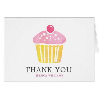 Personalized Watercolor Cupcake Thank You Card