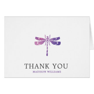 Personalized Watercolor Dragonfly Thank You Card