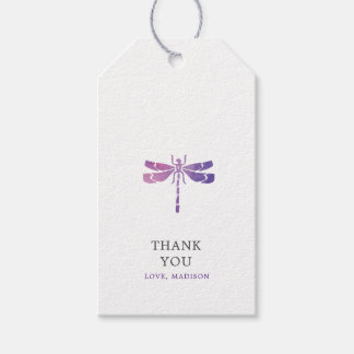 Personalized Watercolor Dragonfly Thank You Gift Tags