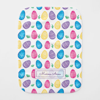 Personalized Watercolor Easter Egg Pattern Burp Cloths