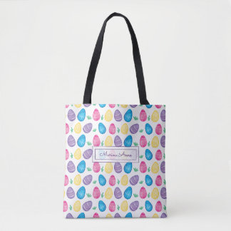 Personalized Watercolor Easter Egg Pattern Tote Bag