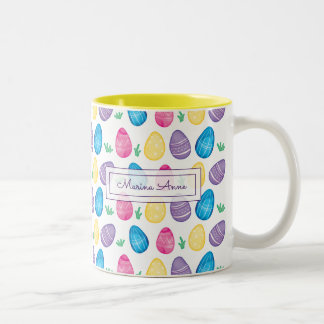 Personalized Watercolor Easter Egg Pattern Two-Tone Coffee Mug