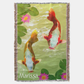 Personalized Watercolor Fish Swimming Photography Throw Blanket
