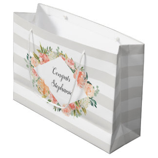 Personalized Watercolor Floral and Stripes Pattern Large Gift Bag