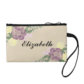 Personalized Watercolor Floral Cosmetic Bag