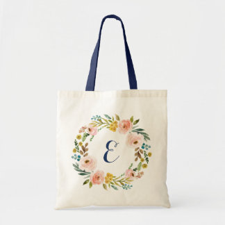 Personalized Watercolor Floral Tote Bag