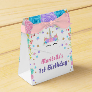 Personalized Watercolor Floral Unicorn Birthday Favor Box