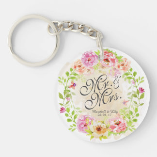 Personalized Watercolor Floral Wedding Keychain