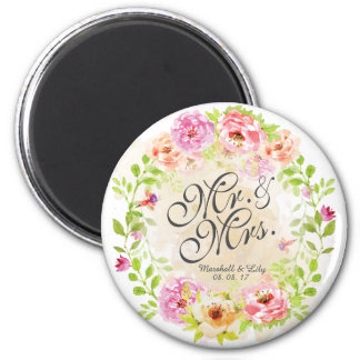 Personalized Watercolor Floral Wedding | Magnet