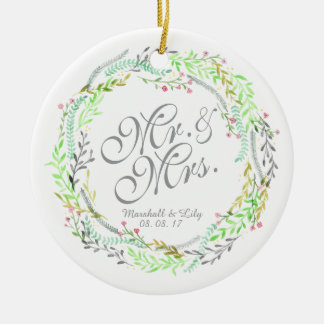 Personalized Watercolor Floral Wedding Ornament