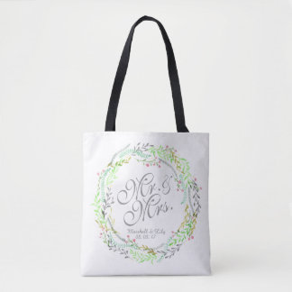 Personalized Watercolor Floral Wedding Tote Bag
