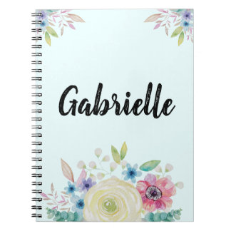Personalized Watercolor Flower Design Spiral Notebook