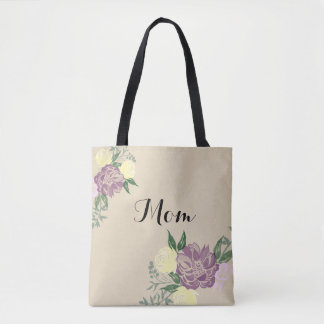 Personalized Watercolor Flower Tote Bag