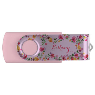 Personalized Watercolor Flowers and Hearts USB Flash Drive