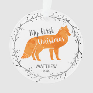 Personalized Watercolor Fox Baby First Christmas Ornament