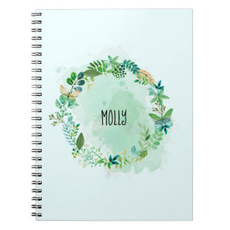 Personalized Watercolor Green Plant Wreath Spiral Notebook