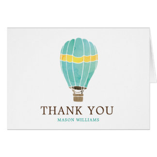 Personalized Watercolor Hot Air Balloon Thank You Card