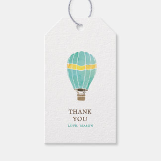 Personalized Watercolor Hot Air Balloon Thank You Gift Tags