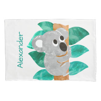Personalized Watercolor Koala Bear Kids Animal Pillowcase