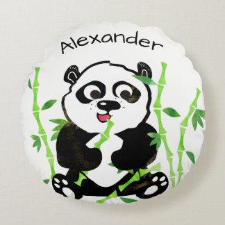 Personalized Watercolor Panda Bear Animal Kids Round Pillow