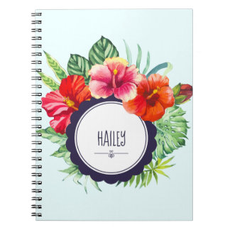 Personalized Watercolor Pink and Red Hibiscus Notebooks