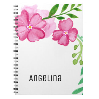 Personalized Watercolor Pink Flowers Notebook