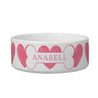 Personalized Watercolor Pink Heart Pattern Bowl