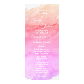 Personalized Watercolor Pink Wedding Programs