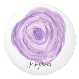 Personalized Watercolor Purple Flower Ceramic Knob