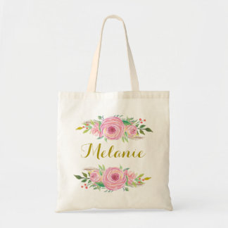 Personalized Watercolor Roses Floral Tote Bag