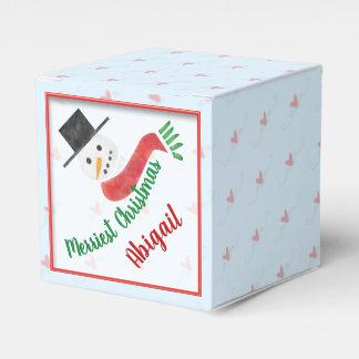 Personalized Watercolor Snowman Merriest Christmas Favor Box