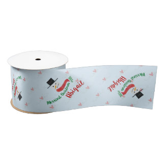 Personalized Watercolor Snowman Merriest Christmas Satin Ribbon