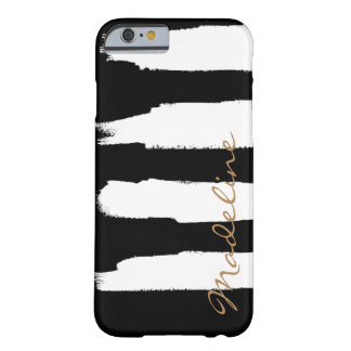 Personalized Watercolor White Brush Strokes Barely There iPhone 6 Case