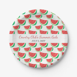 Personalized Watermelon Pattern Summer Party Plate