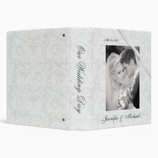 Personalized Wedding Album - White Damask 3 Ring Binders