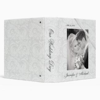 Personalized Wedding Album - White Damask 3 Ring Binders