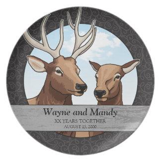 Personalized Wedding Anniversary, Elk Pair Plate
