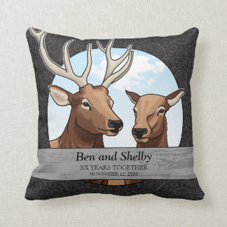Personalized Wedding Anniversary, Elk Pair Throw Pillow