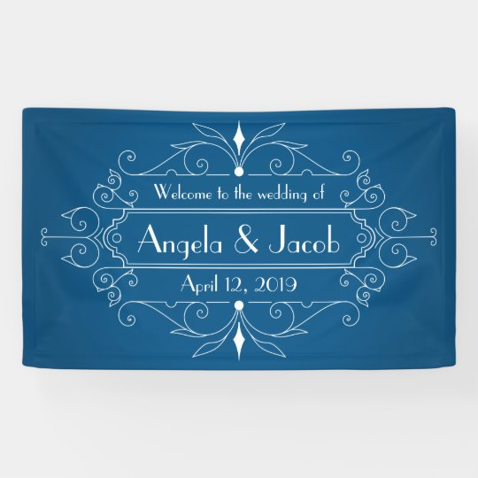 Personalized Wedding Banner Vintage Marine Blue