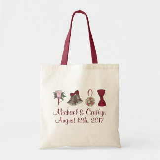 Personalized Wedding Bells Flowers Bow Tie Tote