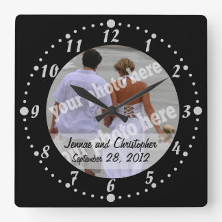 Personalized Wedding Clock Black Custom Photo