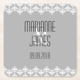 Personalized Wedding Coaster Gray Damask