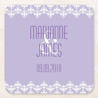 Personalized Wedding Coaster Lilac Purple Damask