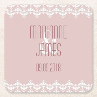 Personalized Wedding Coaster Old Rose Damask