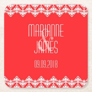 Personalized Wedding Coaster Red Damask