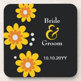 Personalized Wedding Coasters Yellow Flowers Black